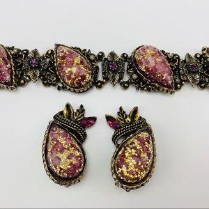 Vintage Amethyst Colored Bracelet Clip On Earrings